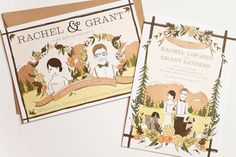 Adorable and unique. Custom Illustrated Wedding Invitation by amyheitman