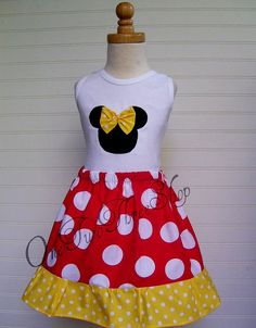 Custom Boutique Clothing Minnie Mouse Tank  and Twirl by amacim, $34.99