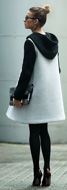Just a pretty style | Latest fashion trends: Street style | Color block coat dress with opaque black tights and heels