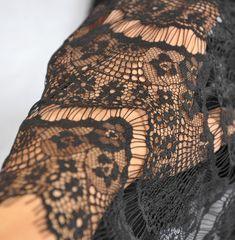 Black Lace Fabric, Crochet Lace Fabric, Eyelash Lace Fabric, Fabric by Yard