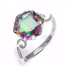 HOTSKULL 925 Sterling Silver Ring Hollow Solitaire Princess Cut Mystic Rainbow Topaz Charming Diamond Jewelry Cocktail Party Engagement Wedding Band Rings