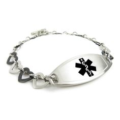 MyIDDr Custom Medical Alert Bracelet with Free Engraving- Steel Black Hearts -- See this great product.