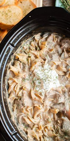 Make the best beef stroganoff in the slow cooker! Only takes a few ingredients and tastes just like mom would make. - The Magical Slow Cooker Pollo Stroganoff, Crock Pot Stroganoff, Best Beef Stroganoff, Slow Cooker Chicken Stroganoff, Slow Cooker Beef, Slow Cooker Recipes, Crockpot Recipes, Cooking Recipes, Kitchen Recipes