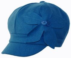Unisex Wool Newsboy / Cabbie Winter Hat / Cap with Button Flower Accent ( 6 Colors )