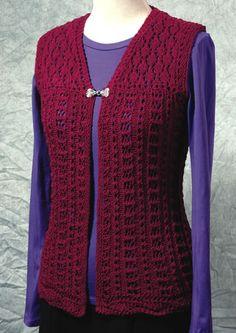 Ravelry: The Venus Vest pattern by Dorothy Siemens Ladies Cardigan Knitting Patterns, Crochet Vest Pattern, Lace Knitting Patterns, Crochet Coat, Knitted Coat, Cardigan Pattern, Crochet Cardigan, Crochet Clothes, Free Pattern