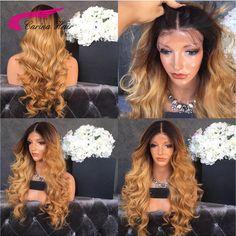 8A Grade Brazilian virgin hair Front lace wigs Ombre Dark Blonde full lace human hair wigs 2#/27# Glueless Wigs for Black Women