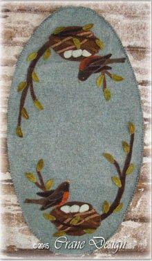 Crane Design by Jan Mott Wool Applique Penny Rug & Punchneedle Patterns: Garden Friends Wool Applique Candle Mat Tulips, Sunflowers & Starflowers