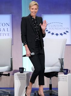 Star power: Charlize Theron attended the Clinton Global Initiative on Sunday in New York C...