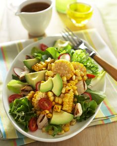 Corn, avocado, chicken salad