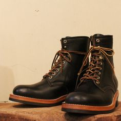 MOTOR CHROMEXCEL LEATHER LACE UP BOOTS BLACK