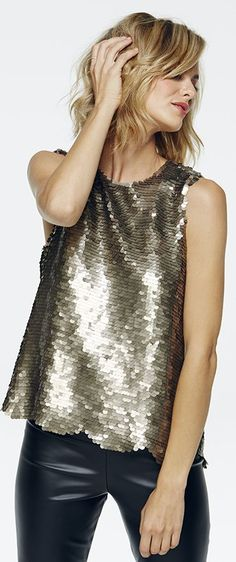 Paper Crown Gold Sequins Scalloped Top by Oldies But Goodies