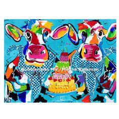 Veelzijdig kunstenares Mir schildert o.a  met veel plezier grappige kleurrijke Hollandse koeien  . Artist Mir /Mirthe Kolkman from the Netherlands loves to paint the cows from Holland in a funny happy colourful style .