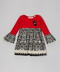 Loving this Black & Red Damask Peppermint Party Dress - Toddler & Girls on #zulily! #zulilyfinds