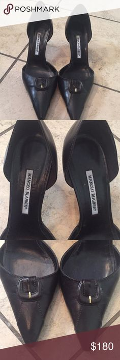 Manolo Blahnik heels Chocolate brown heels. Worn only once, excellent condition with only minor scuffing to soles (please see bottom of shoes pic) Manolo Blahnik Shoes Heels