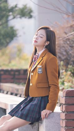 Korean Uniform School, School Uniform Outfits, Cute School Uniforms, Girls In Uniform, Kpop Fashion, School Fashion, Korean Fashion, Fashion Outfits, School Girl Dress