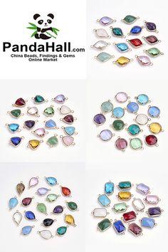#PandaHall Jewelry Links-----Brass Glass Links for Necklace, earrings and bracelet #PandaHall #Jewelry #Links #jewelryfindings #Necklace, #earrings and #bracelet