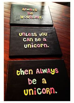 Unicorn quote on set of 3 canvas' 9 x 12's by shopsignlanguage, $33.00