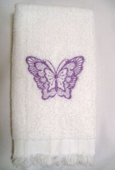Butterfly Embroidered Towel For Bathroom Or by SewBeautifulbyDC,