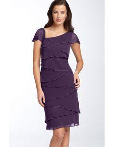 Short Mother Of The Bride Dresses | Short Purple Chiffon Mother of the Bride Dress at EBuyWedding com ...