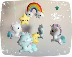 Arco iris bebé unicornio móvil Pegaso móvil bebé por MyMagicFelt