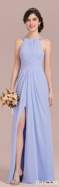 What a nice bridesmaid dress with gentle color and great cut! #JJsHouse #Bridesmaid