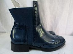 Womens ZARA BASIC COLLECTION Ankle BOOTS Cut-Out Shoe BLUE 5.5 / 36