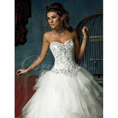 Ball Gown Strapless Sleeveless Chapel Train Satin Organza Wedding Dress  $229