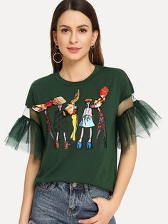 Preppy Cartoon Regular Fit Round Neck Half Sleeve Flounce Sleeve Pullovers Green Regular Length Lace Contrast Bow Cartoon Print Tee - Best Sewing Tips Fashion Details, Diy Fashion, Love Fashion, Ideias Fashion, Fashion Outfits, Womens Fashion, Fashion Design, Vetement Fashion, Latest T Shirt