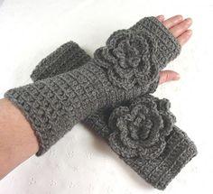 heather gray crocheted fingerless gloves