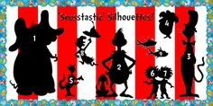 'Seusstastic' Silhouettes | Read Across America Bulletin Board Idea. http://www.mpmschoolsupplies.com/ideas/4457/seusstastic-silhouettes-read-across-america-bulletin-board/