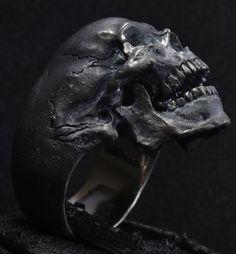 Skull ring open jaw silver mens skull biker masonic rock n roll gothic handmade jewelry .925 etsy