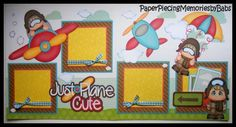 2 Premade Paper Pieced 12x12 Just Plane Cute Boy Scrapbook Pages by Babs