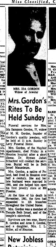 Ida Sampson Gordon obit Saturday, February 9, 1963   Paper: Houston Chronicle (Houston, Texas)   Page: 4