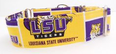 LSU Adjustable Martingale Dog Collar  Made to by JinsK9Kreations