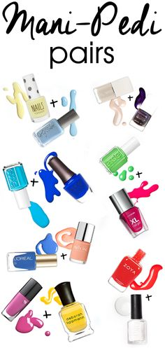 Coordinate Your Tips and Toes with These Summer Mani-Pedi Pairings Beauty Blitz Nail Polish Combinations, Nail Color Combos, Nail Colors, Colour Combinations, Love Nails, How To Do Nails, Pretty Nails, Mani Pedi, Manicure And Pedicure