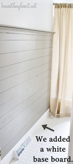 How to Install Wood Plank Walls | Beneath My Heart... Great idea to avoid uneven ceiling! Put in a ledge for pictures to sit! ...doin it!