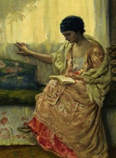 Woman Reading (1915). Rupert Bunny (Australian, 1864-1947), Oil on canvas.  In 1901 Bunny left the Paris Old Salon for the New (Société Nationale des Beaux-Arts). This coincided with a change in his work from large, idealized subject compositions drawn from the Bible and especially classical mythology, painted in a neo-classical style touched with Pre-Raphaelitism, to paintings of women, landscapes, and portraiture.