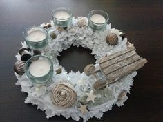 Adventskranz Stoffkranz shabby Teelichthalter weiß von kette78 auf DaWanda.com