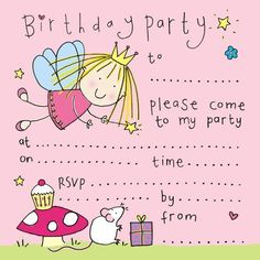 Cute Fairy Birthday Party Invitation