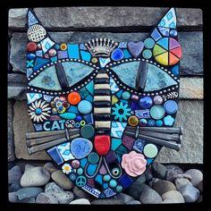 Cat mixed media mosaic assemblage art by artist Shawn DuBois