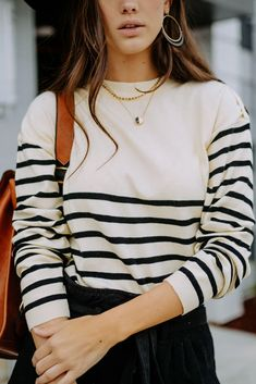 Evening Blouses, Women's Evening Dresses, Breton Stripes Outfit, Breton Stripe Shirt, Long Sleeve Maxi, Long Sleeve Tops, Outfits With Striped Shirts, Casual Chique, Online Dress Shopping