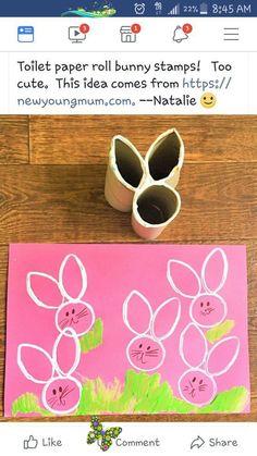 Leaving Facebook Homemade Toilet Roll Stamp #Easter Crafts #Easter<br> Easter Crafts For Toddlers, Easy Easter Crafts, Spring Crafts For Kids, Daycare Crafts, Crafts For Kids To Make, Easter Crafts For Kids, Art For Kids, Easter Activities For Kids, Children Crafts