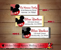 Items similar to Mickey Mouse Return Address Labels, Minnie Mouse Return Address Lables, Mickey Minnie Clubhouse Address Labels to match Invitations on Etsy Return Address Stickers, Return Address Labels, Email Address, Minnie Mouse, Mickey Mouse Clubhouse, Mailing Labels, Printable Labels, Party Printables