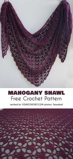 Mahogany Shawl Free Crochet Pattern Here is a classic shawl pattern. This shawl is simply a must for every crocheter. The Mahogany Shawl is an amazing realization of the South Bay Shawlette. This light triangle shawl is about 46 Beau Crochet, Crochet Shawl Free, Mode Crochet, Crochet Shawls And Wraps, Crochet Scarves, Crochet Stitches, Crochet Patterns, Lace Shawls, Crochet Cape