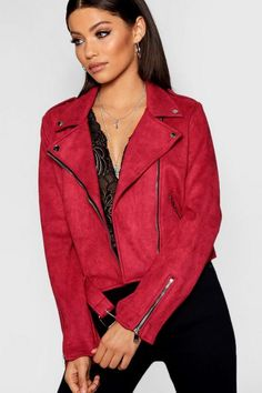 Faux Suede Biker Jacket, Hot Pants, Coats For Women, Girl Fashion, Red Jackets, How To Wear, Outfits, Blonde Highlights, Boohoo