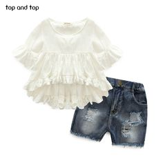 Cheap jeans american, Buy Quality clothes express directly from China jeans wear for girls Suppliers: 2017 High Quality New Fashion Girls Clothing Kids Clothes Fairy Style Cotton Flounced Sleeves Casual Coat Jeans