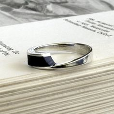 Unique ring Sterling Silver ring with black ebony hard wood modern design ring