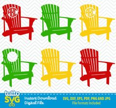 Great Adirondack Chair SVG Files Silhouette Studio Cricut By TuttoSVG