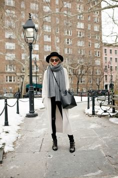 black hat, oversized grey scarf, neutral coat, black jeans & studded Chloe boots #style #fashion #atlanticpacific
