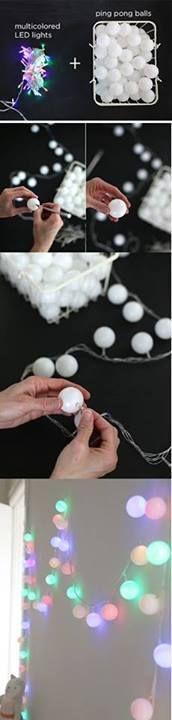 Luces con pelotas de ping pong.